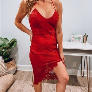 Lovers + Friends Dress - Red Lace - Small